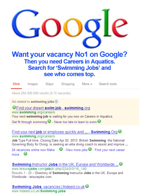 Careers in Aquatics is top of google when you search for 'swimming jobs'.