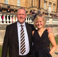 Hannah Russell and her Dad at the Queen's Garden Party, Buckingham Palace