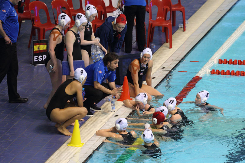 Water Polo huddle