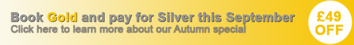£49 off Gold packages this September with our Autumn special